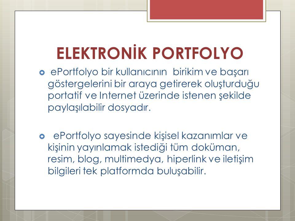 ELEKTRONİK PORTFOLYO  ePortfolyo bir kullanıcının birikim ve başarı göstergelerini bir araya getirerek oluşturduğu portatif ve Internet üzerinde iste