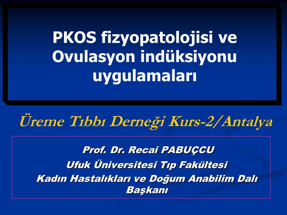 PKOS Tanı kriterleri: I) Oligo-ve/veya anovulasyon I) Oligo-ve/veya anovulasyon II) Hyperandrojenizm (klinik ve/veya biokimyasal) II) Hyperandrojenizm (klinik ve/veya biokimyasal) III) Ultrasonografik olarak polikistik görünümde overler (PCO) III) Ultrasonografik olarak polikistik görünümde overler (PCO) Rotterdam ESHRE/ASRM-2004 Rotterdam ESHRE/ASRM-2004 % 4-7 reprodüktif yaş % 4-7 reprodüktif yaş % 16-25 normal popülasyon % 16-25 normal popülasyon
