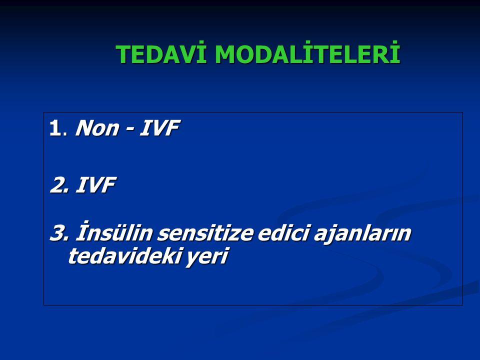 TEDAVİ MODALİTELERİ TEDAVİ MODALİTELERİ 1. Non - IVF 2. IVF 3. İnsülin sensitize edici ajanların tedavideki yeri