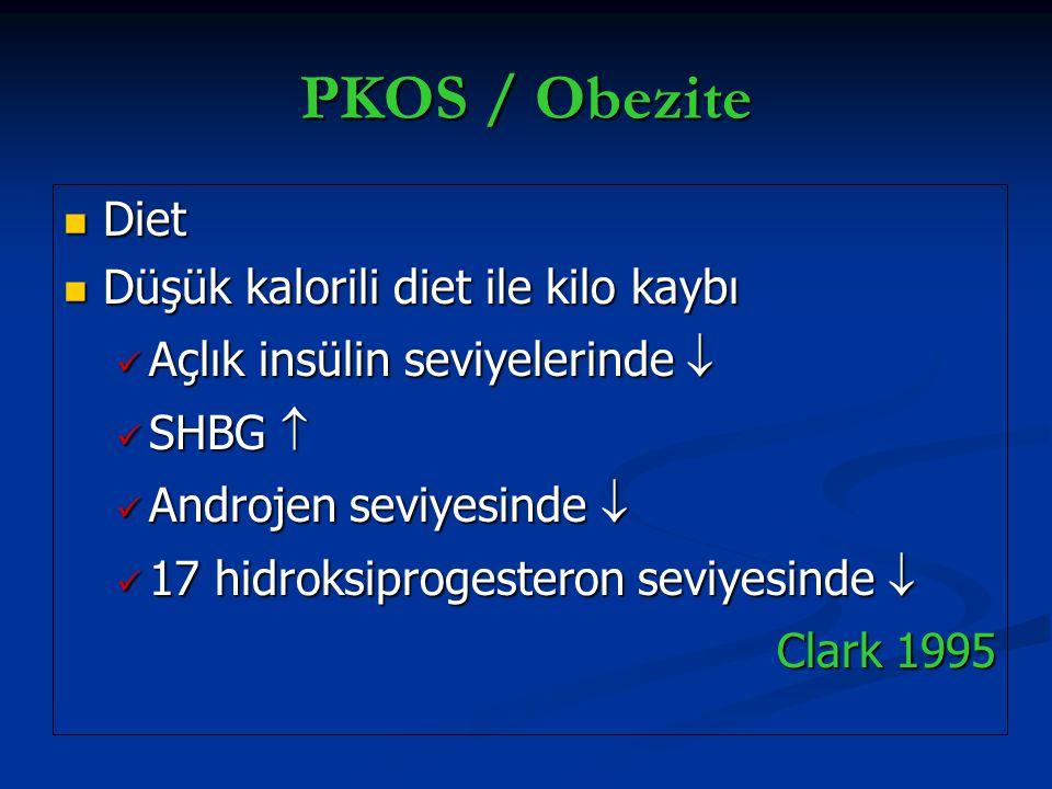 PKOS / Obezite Diet Diet Düşük kalorili diet ile kilo kaybı Düşük kalorili diet ile kilo kaybı Açlık insülin seviyelerinde  Açlık insülin seviyelerin
