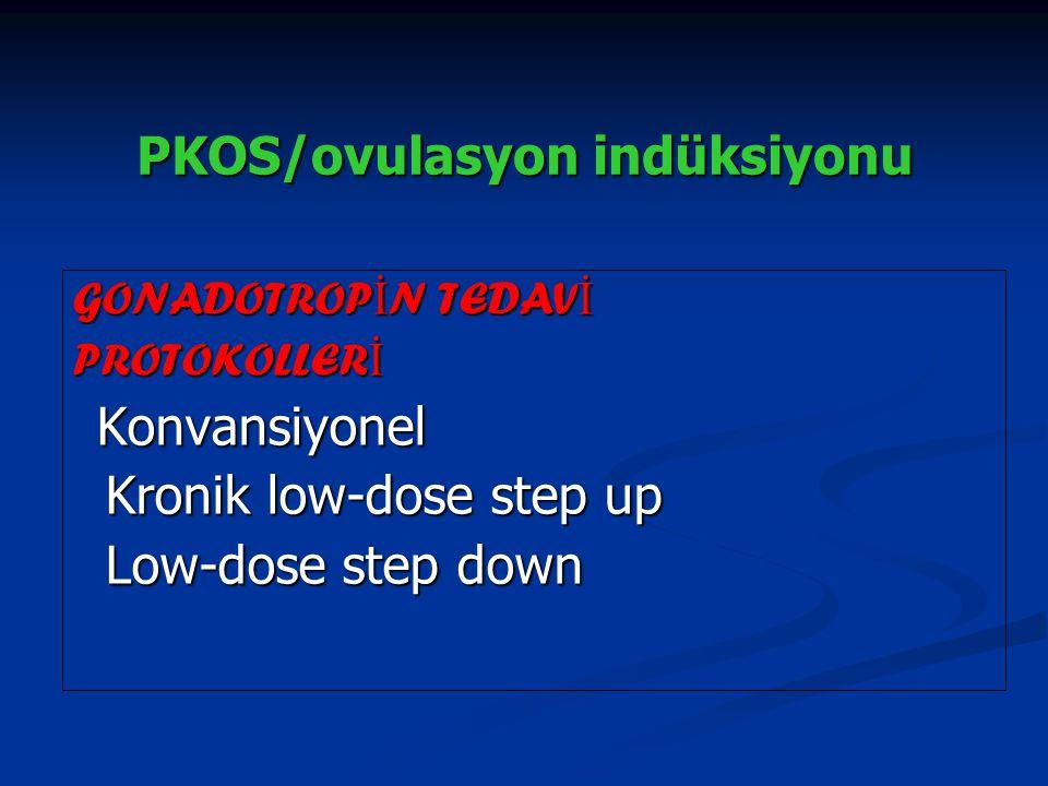 PKOS/ovulasyon indüksiyonu GONADOTROP İ N TEDAV İ PROTOKOLLER İ Konvansiyonel Konvansiyonel Kronik low-dose step up Kronik low-dose step up Low-dose s