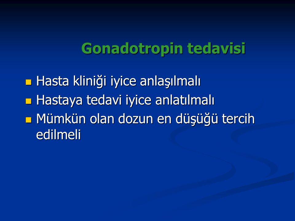 Gonadotropin tedavisi Gonadotropin tedavisi Hasta kliniği iyice anlaşılmalı Hasta kliniği iyice anlaşılmalı Hastaya tedavi iyice anlatılmalı Hastaya t