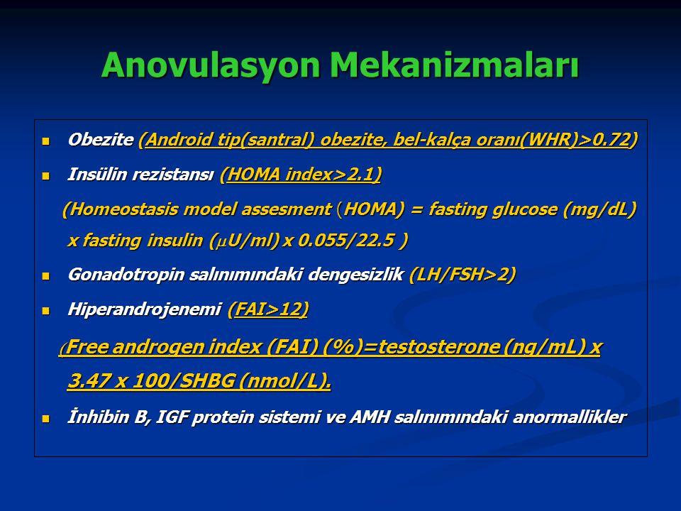 Anovulasyon Mekanizmaları Primordial Follikül Preantral Follikül Antral follikül Preovulatuar Follikül LH Sensitivite LH a Erken Sensitivite İNSULİN ( Artmış LH Artmış Androjen ) 9.5mm 8 mm Follikül Gelişiminde Arrest Normal follikülogenesis Franks S, 2005 Rölatif FSH yetmezliği Rölatif FSH yetmezliği Artmış LH Artmış LH Artmış İnsülin Artmış İnsülin Artmış androjen Artmış androjen İnhibin B, IGF, AMH'daki değişiklikler İnhibin B, IGF, AMH'daki değişiklikler