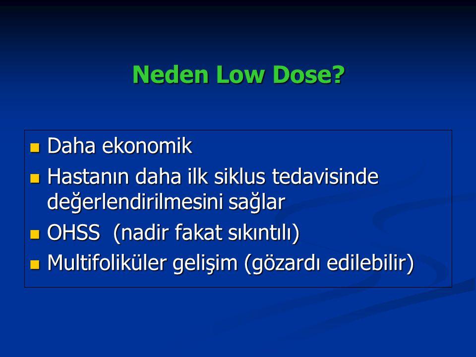 Neden Low Dose? Daha ekonomik Daha ekonomik Hastanın daha ilk siklus tedavisinde değerlendirilmesini sağlar Hastanın daha ilk siklus tedavisinde değer