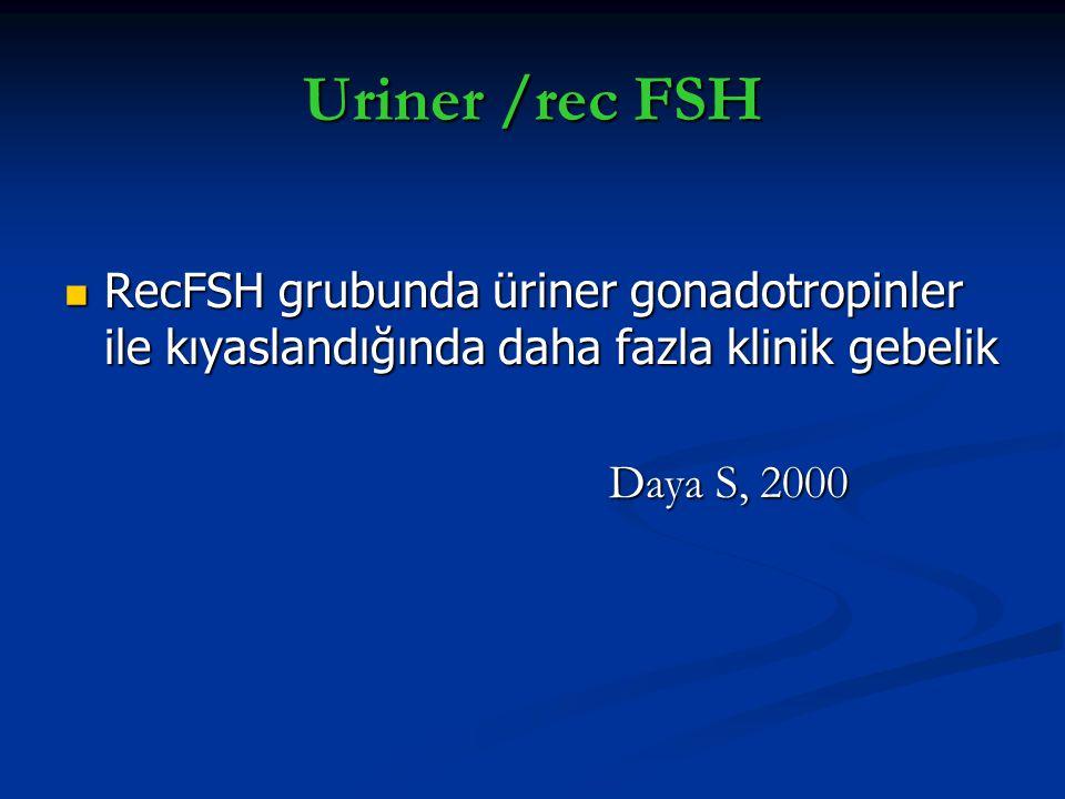Uriner /rec FSH RecFSH grubunda üriner gonadotropinler ile kıyaslandığında daha fazla klinik gebelik RecFSH grubunda üriner gonadotropinler ile kıyasl