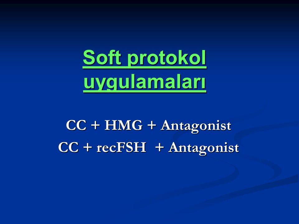 Soft protokol uygulamaları CC + HMG + Antagonist CC + recFSH + Antagonist