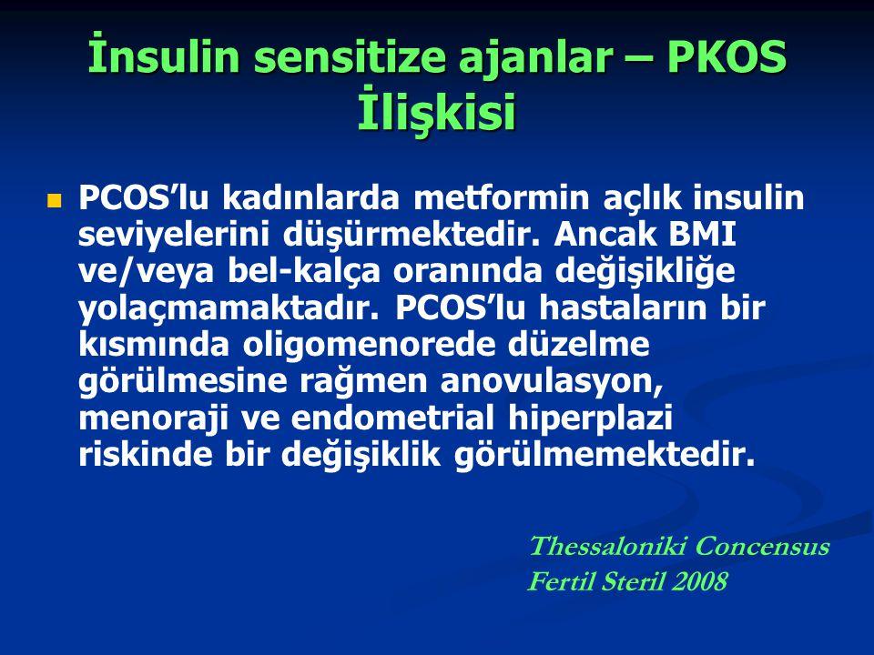 İnsulin sensitize ajanlar – PKOS İlişkisi PCOS'lu kadınlarda metformin açlık insulin seviyelerini düşürmektedir. Ancak BMI ve/veya bel-kalça oranında