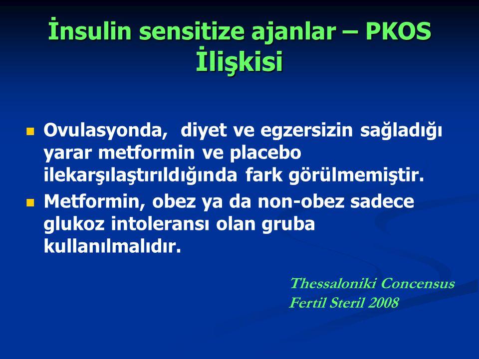 İnsulin sensitize ajanlar – PKOS İlişkisi Ovulasyonda, diyet ve egzersizin sağladığı yarar metformin ve placebo ilekarşılaştırıldığında fark görülmemi