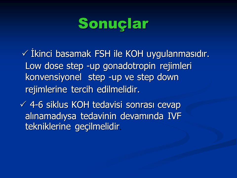 Sonuçlar  İkinci basamak FSH ile KOH uygulanmasıdır. Low dose step -up gonadotropin rejimleri konvensiyonel step -up ve step down rejimlerine tercih