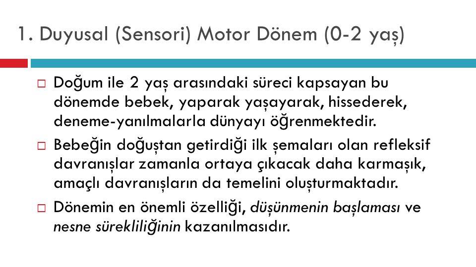 1. Duyusal (Sensori) Motor Dönem (0-2 yaş)  Do ğ um ile 2 yaş arasındaki süreci kapsayan bu dönemde bebek, yaparak yaşayarak, hissederek, deneme-yanı