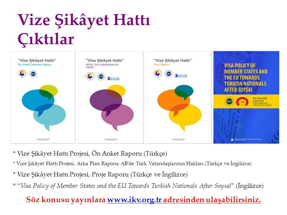 Vize Şikâyet Hattı Çıktılar * Vize Şikâyet Hattı Projesi, Ön Anket Raporu (Türkçe) * Vize Şikâyet Hattı Projesi, Arka Plan Raporu: AB'de Türk Vatandaş