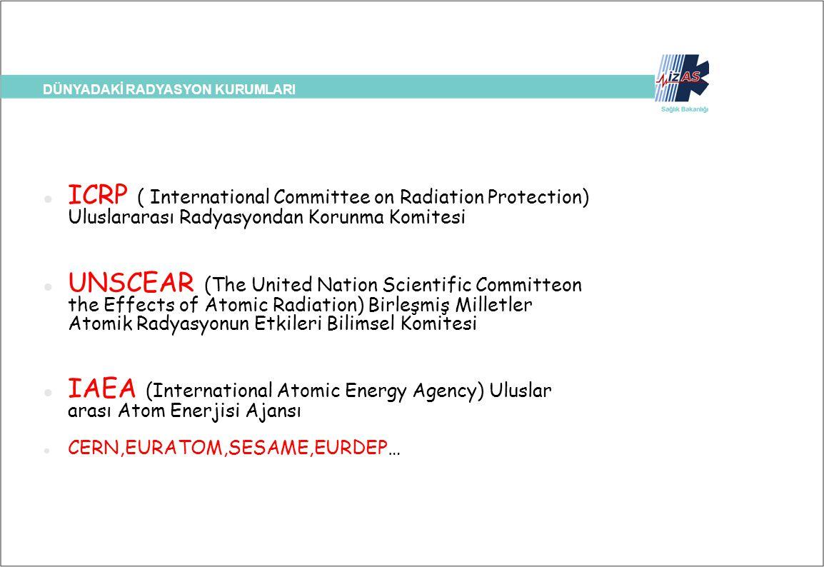 DÜNYADAKİ RADYASYON KURUMLARI ICRP ( International Committee on Radiation Protection) Uluslararası Radyasyondan Korunma Komitesi UNSCEAR (The United N