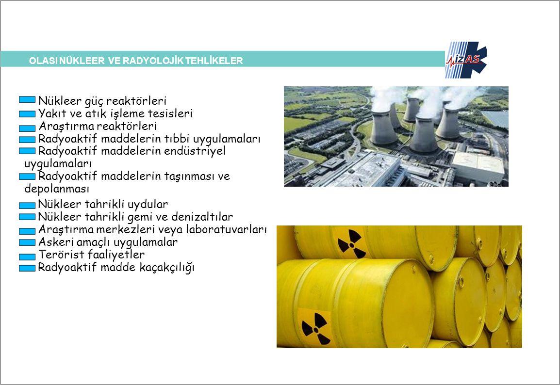 OLASI NÜKLEER VE RADYOLOJİK TEHLİKELER Nükleer güç reaktörleri Yakıt ve atık işleme tesisleri Araştırma reaktörleri Radyoaktif maddelerin tıbbi uygula