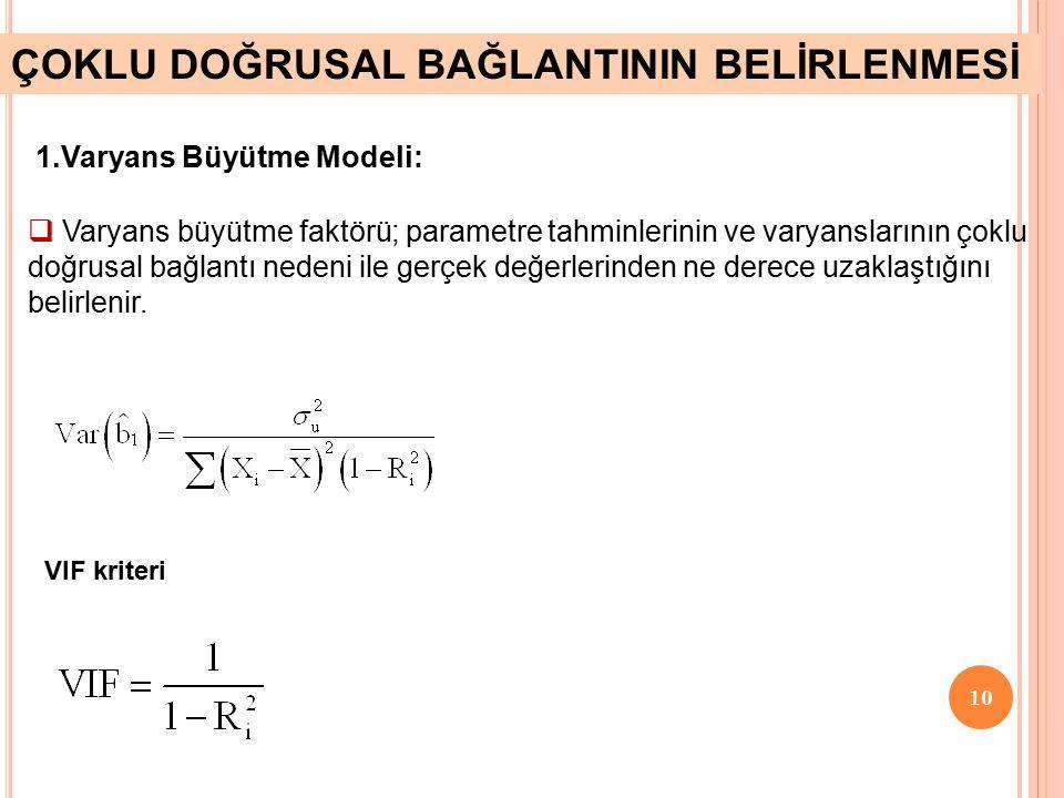 9 Varyans Büyütme Modeli Yardımcı Regresyon Modelleri için F testi Klein – Kriteri Şartlı Sayı Kriteri Theil-m Ölçüsü ÇOKLU DOĞRUSAL BAĞLANTININ VARLI