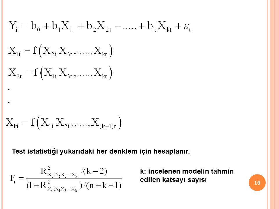 15 2.Yardımcı Regresyon Modelleri için F testi  Bu yöntemde varyans büyütme faktöründe hesapladığımız belirlilik katsayılarından hesaplanır.