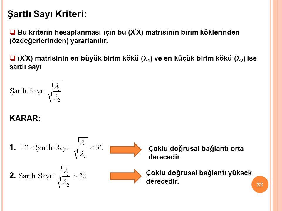 21 UYGULAMA: Aynı örnek için Klein kriteri ile çoklu doğrusal bağlantı sorununu inceleyiniz. Elde edilen yardımcı regresyon modelleri 1. 2. 3. Çoklu d