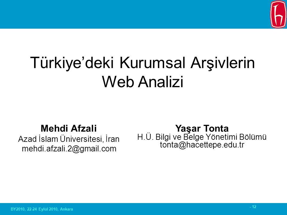 - 12 Mehdi Afzali Azad İslam Üniversitesi, İran mehdi.afzali.2@gmail.com Türkiye'deki Kurumsal Arşivlerin Web Analizi Yaşar Tonta H.Ü. Bilgi ve Belge