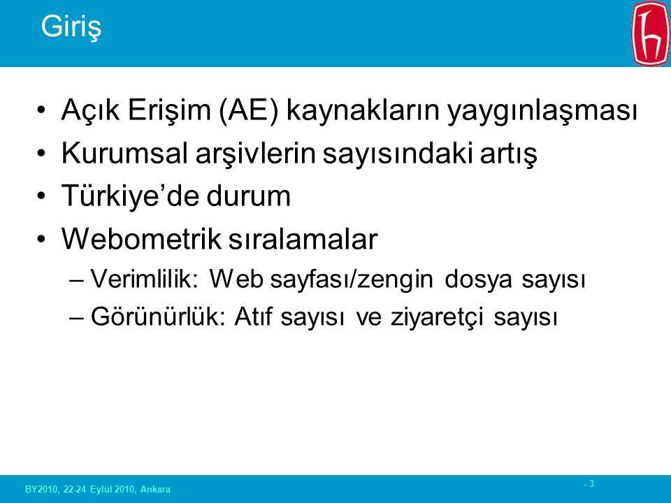 - 3 Giriş Açık Erişim (AE) kaynakların yaygınlaşması Kurumsal arşivlerin sayısındaki artış Türkiye'de durum Webometrik sıralamalar –Verimlilik: Web sayfası/zengin dosya sayısı –Görünürlük: Atıf sayısı ve ziyaretçi sayısı BY2010, 22-24 Eylül 2010, Ankara