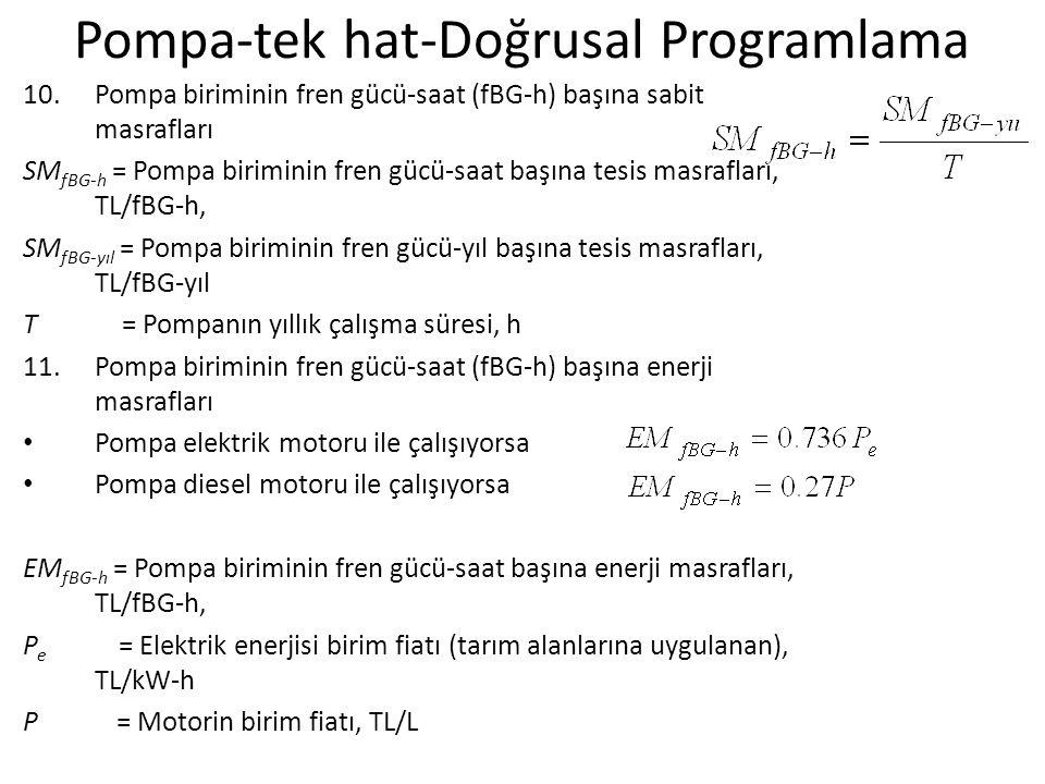 Pompa-tek hat-Doğrusal Programlama 10.Pompa biriminin fren gücü-saat (fBG-h) başına sabit masrafları SM fBG-h = Pompa biriminin fren gücü-saat başına tesis masrafları, TL/fBG-h, SM fBG-yıl = Pompa biriminin fren gücü-yıl başına tesis masrafları, TL/fBG-yıl T = Pompanın yıllık çalışma süresi, h 11.Pompa biriminin fren gücü-saat (fBG-h) başına enerji masrafları Pompa elektrik motoru ile çalışıyorsa Pompa diesel motoru ile çalışıyorsa EM fBG-h = Pompa biriminin fren gücü-saat başına enerji masrafları, TL/fBG-h, P e = Elektrik enerjisi birim fiatı (tarım alanlarına uygulanan), TL/kW-h P = Motorin birim fiatı, TL/L