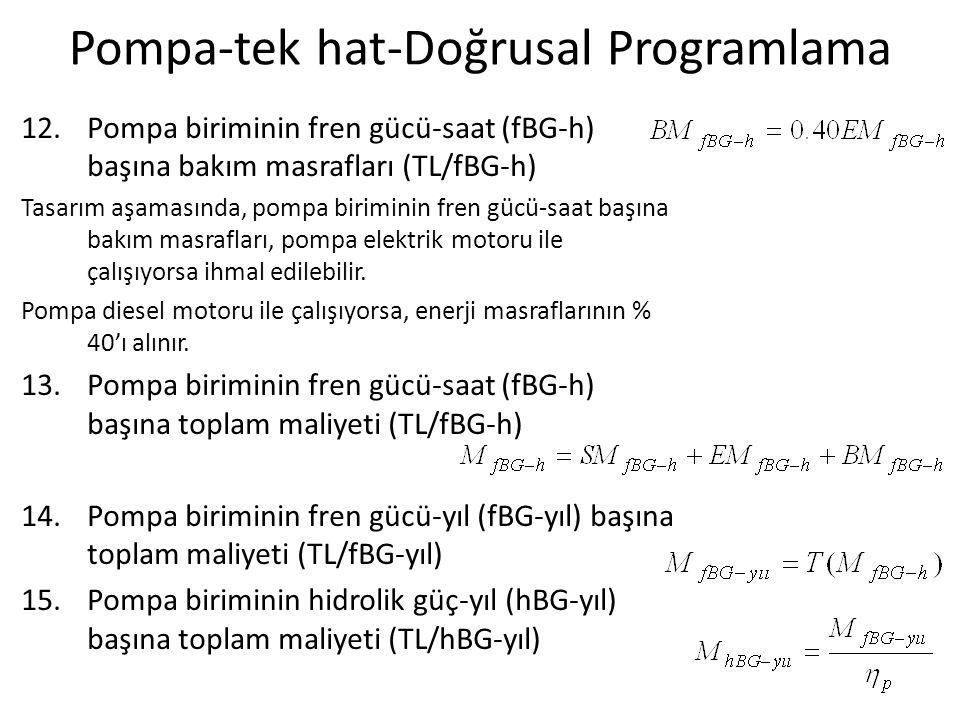 Pompa-tek hat-Doğrusal Programlama 16.Pompa biriminde birim manometrik yükseklik maliyeti: k o = Birim manometrik yükseklik maliyeti, TL/m-yıl, M hBG-yıl = Pompa biriminin hidrolik güç-yıl başına toplam maliyeti, TL/hBG-yıl Q = Sistem debisi, L/s 17.Seçenek boru çaplarında (V=0.5-2.0 m/s) birim uzunluk yıllık maliyetleri: Dış çap (mm) Maliyet (TL/m) Faiz oranı, i (%) Servis ömrü, n (yıl) Amortisman Faktörü, AF Birim uzunluk yıllık maliyeti (Maliyet x AF) (TL/m-yıl) 90 110 125 6.80 8.40 10.40 10350.103690.71 0.87 1.08