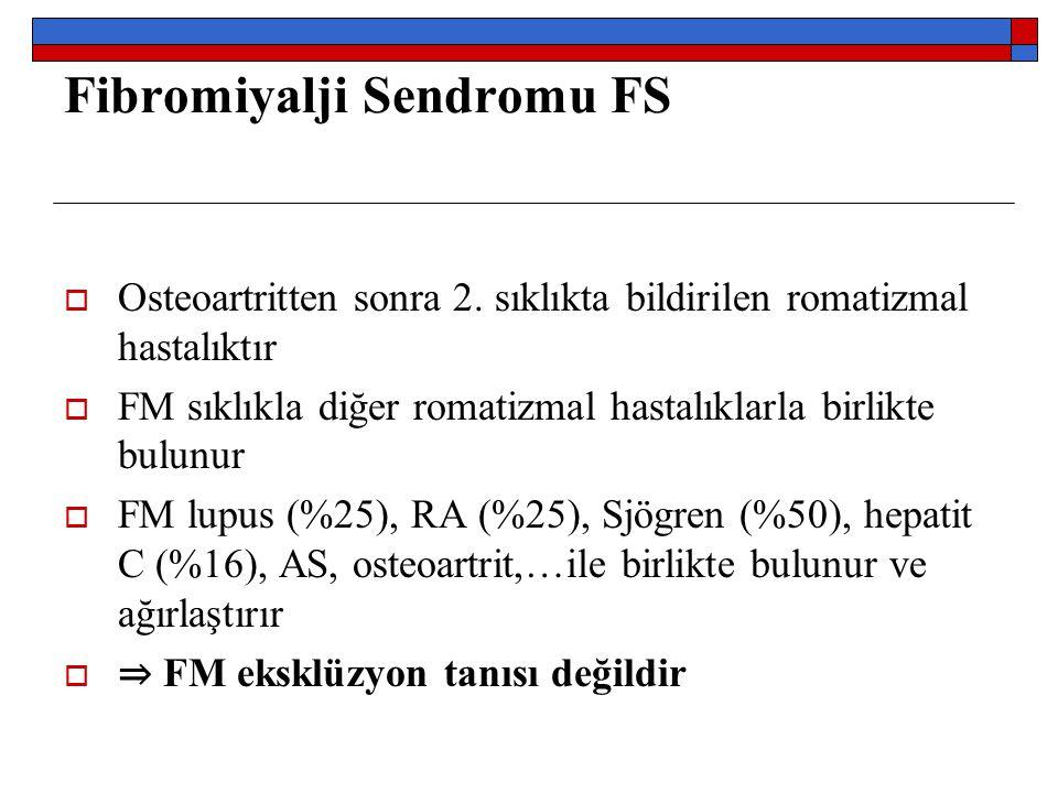 Fibromiyalji Sendromu FS  Osteoartritten sonra 2. sıklıkta bildirilen romatizmal hastalıktır  FM sıklıkla diğer romatizmal hastalıklarla birlikte bu