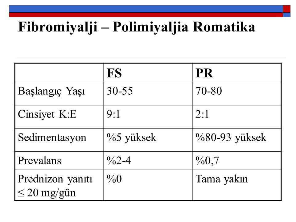 Fibromiyalji – Polimiyaljia Romatika FSPR Başlangıç Yaşı30-5570-80 Cinsiyet K:E9:12:1 Sedimentasyon%5 yüksek%80-93 yüksek Prevalans%2-4%0,7 Prednizon