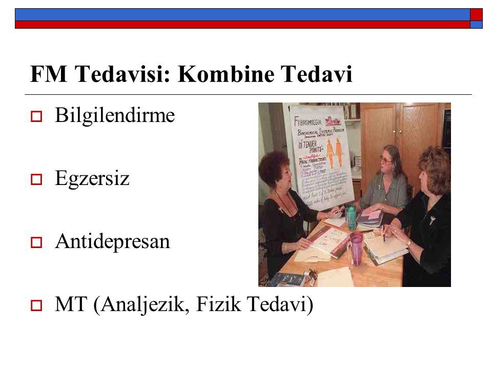 FM Tedavisi: Kombine Tedavi  Bilgilendirme  Egzersiz  Antidepresan  MT (Analjezik, Fizik Tedavi)