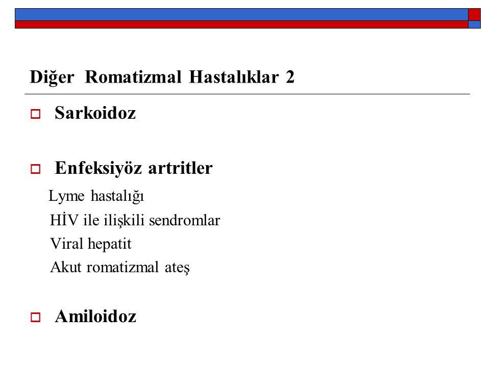 Diğer Romatizmal Hastalıklar 2  Sarkoidoz  Enfeksiyöz artritler Lyme hastalığı HİV ile ilişkili sendromlar Viral hepatit Akut romatizmal ateş  Amil