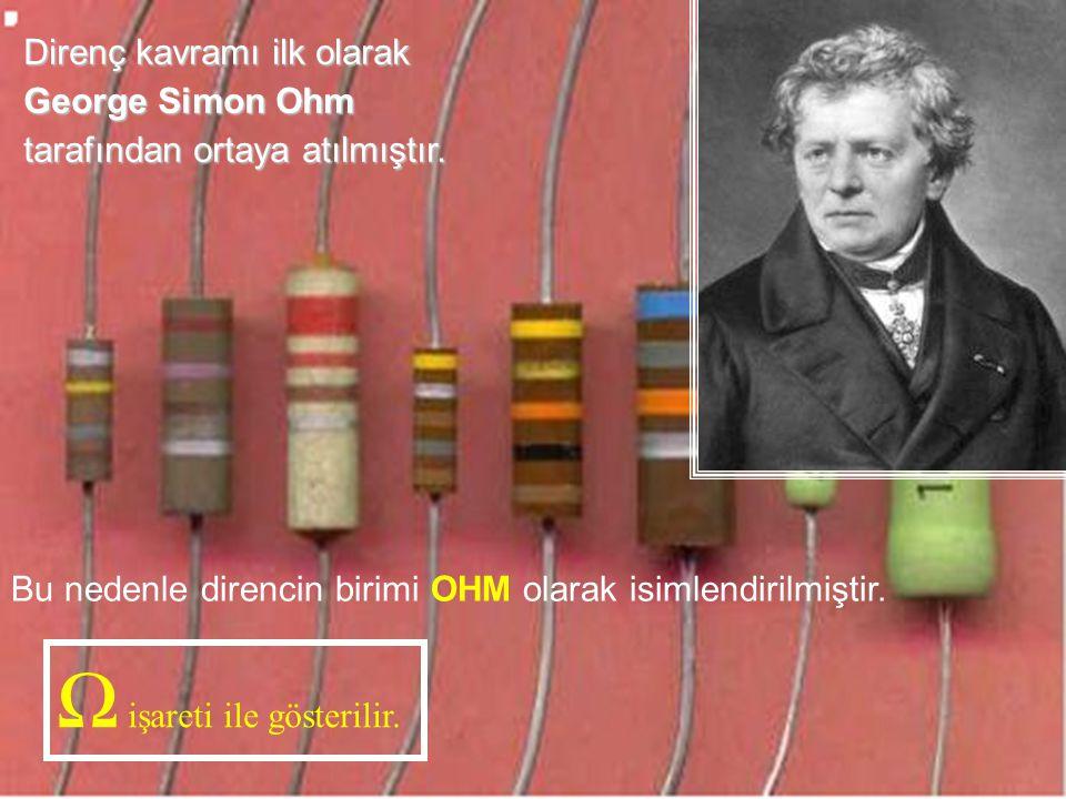 Cihad AYDIN15 Direnç kavramı ilk olarak George Simon Ohm tarafından ortaya atılmıştır. Bu nedenle direncin birimi OHM olarak isimlendirilmiştir. Ω işa