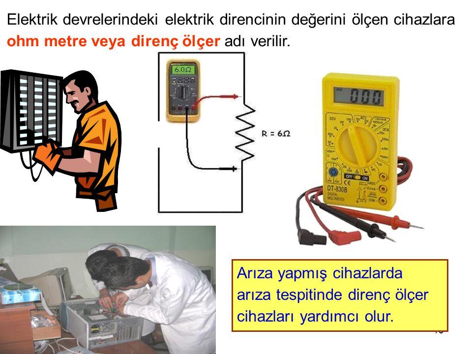 Cihad AYDIN18 Elektrik devrelerindeki elektrik direncinin değerini ölçen cihazlara ohm metre veya direnç ölçer adı verilir. Arıza yapmış cihazlarda ar