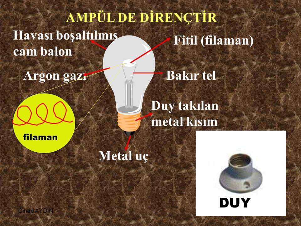 Cihad AYDIN28 AMPÜL DE DİRENÇTİR Havası boşaltılmış cam balon Fitil (filaman) Bakır tel Duy takılan metal kısım Argon gazı filaman DUY Metal uç
