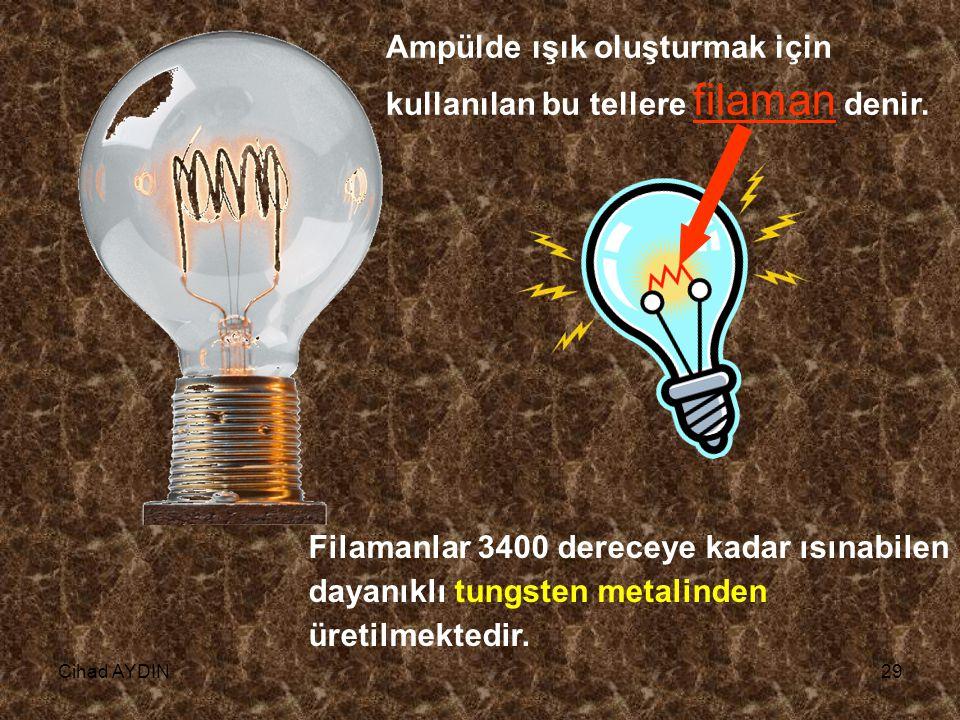 Cihad AYDIN29 Ampülde ışık oluşturmak için kullanılan bu tellere filaman denir. Filamanlar 3400 dereceye kadar ısınabilen dayanıklı tungsten metalinde