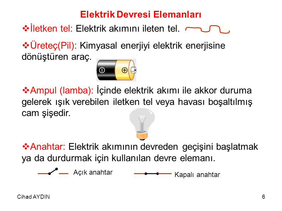 Cihad AYDIN6 Elektrik Devresi Elemanları İİletken tel: Elektrik akımını ileten tel. ÜÜreteç(Pil): Kimyasal enerjiyi elektrik enerjisine dönüştüren