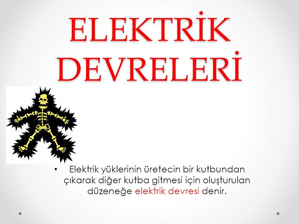 ELEKTRİK DEVRELERİ Elektrik yüklerinin üretecin bir kutbundan çıkarak diğer kutba gitmesi için oluşturulan düzeneğe elektrik devresi denir.