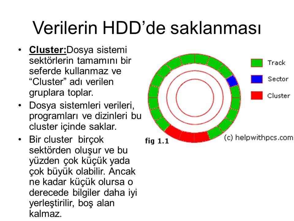 """Verilerin HDD'de saklanması Cluster:Dosya sistemi sektörlerin tamamını bir seferde kullanmaz ve """"Cluster"""" adı verilen gruplara toplar. Dosya sistemler"""