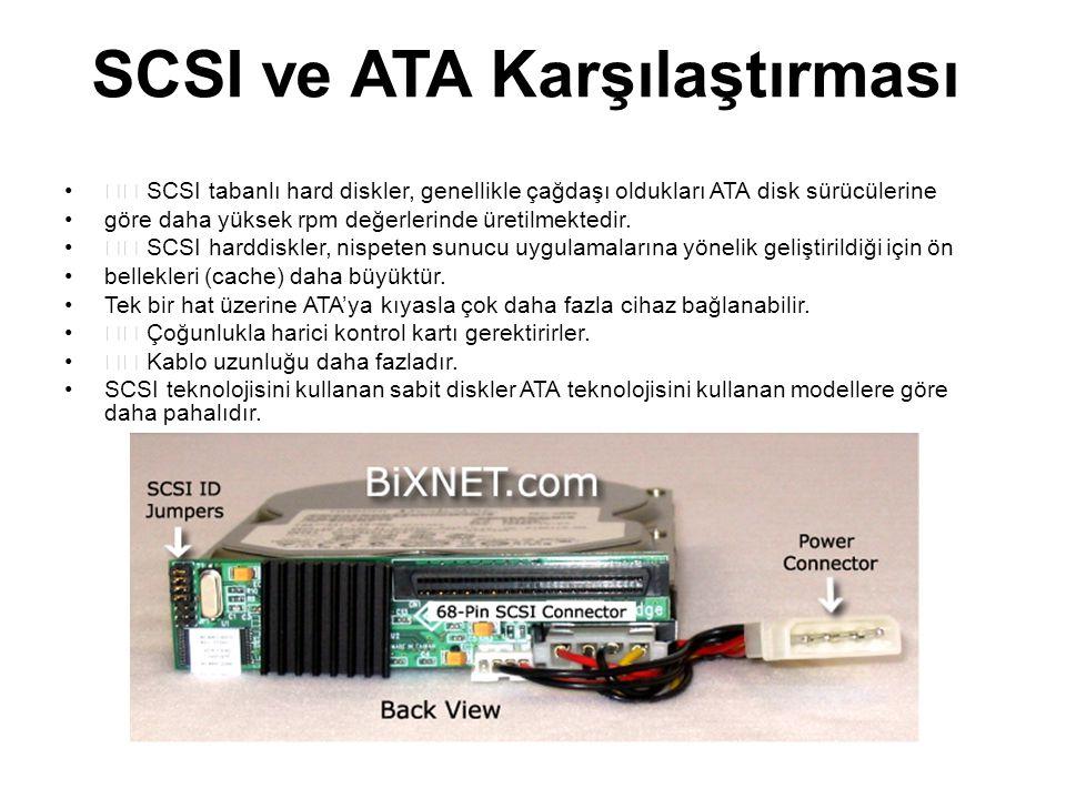 SCSI ve ATA Karşılaştırması SCSI tabanlı hard diskler, genellikle çağdaşı oldukları ATA disk sürücülerine göre daha yüksek rpm değerlerinde üretilmekt
