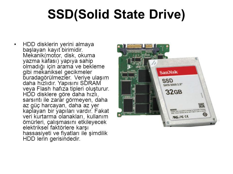 SSD(Solid State Drive) HDD disklerin yerini almaya başlayan kayıt birimidir. Mekanik(motor, disk, okuma yazma kafası) yapıya sahip olmadığı için arama