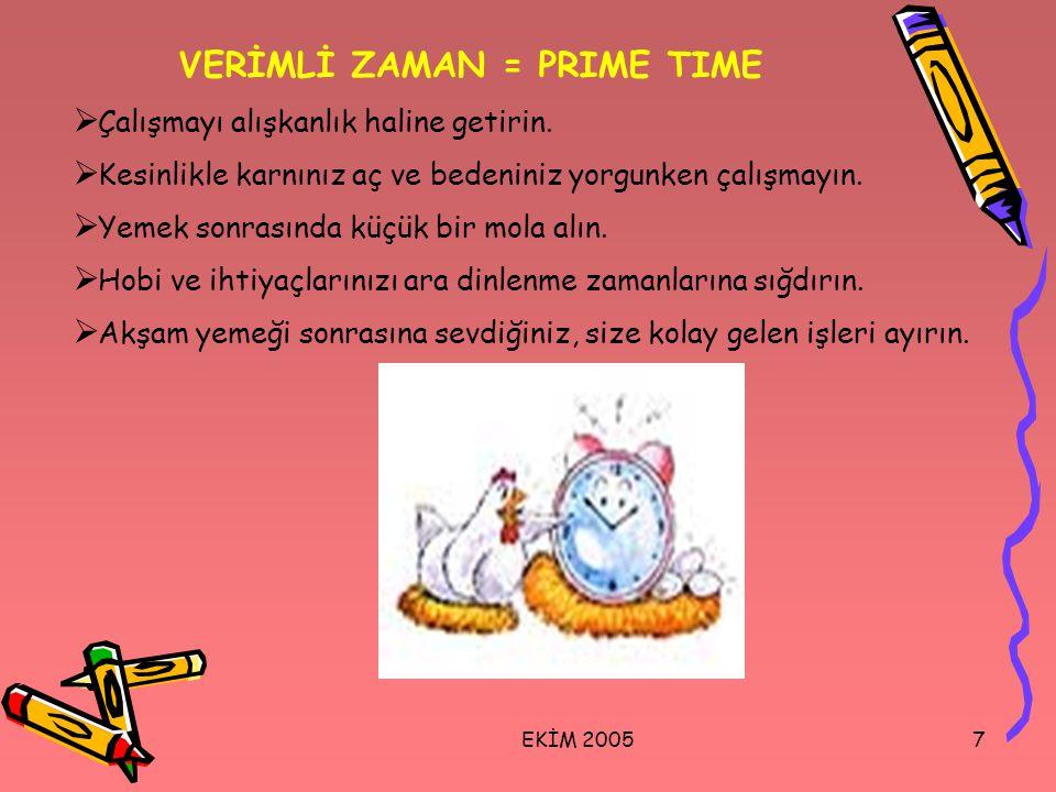 EKİM 20057 VERİMLİ ZAMAN = PRIME TIME  Çalışmayı alışkanlık haline getirin.  Kesinlikle karnınız aç ve bedeniniz yorgunken çalışmayın.  Yemek sonra