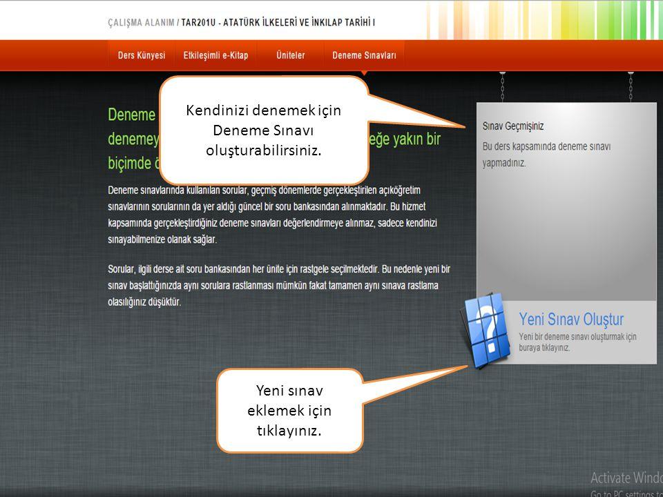 Örnek sınav ekranı