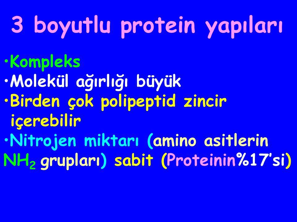 PROTEİNLER 3 boyutlu yapı, lineer polimerlerin çok farklı şekillerde katlanması ve kıvrılmasıyla oluşur Her proteinin spesifik bir fonksiyonu vardır Biyolojik fonksiyonlar, 3 boyutlu yapıya bağlıdır H2N (H2N ( ) n COOH (lineer polimer) (polipeptid zincir)