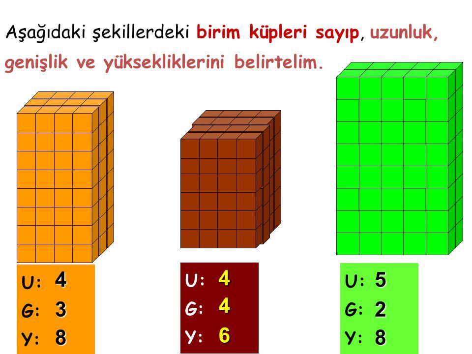 Aşağıdaki şekillerdeki birim küpleri sayıp, uzunluk, genişlik ve yüksekliklerini belirtelim. U: G: Y: U: G: Y: U: G: Y: 4 3 8 4 4 6 5 2 8