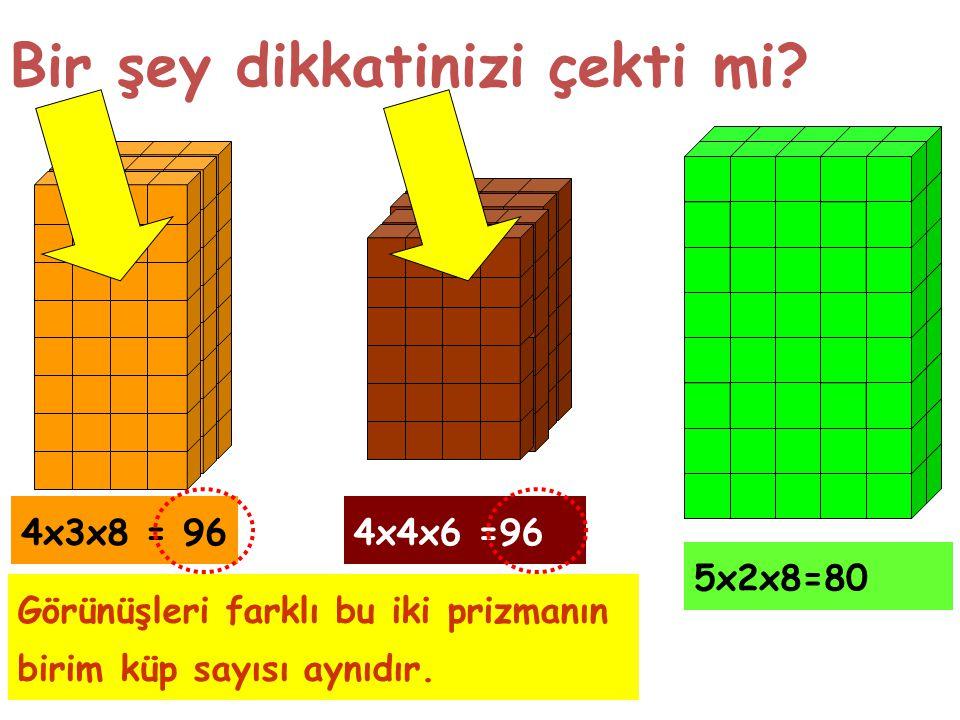 Bir şey dikkatinizi çekti mi? 4x3x8 = 964x4x6 =96 5x2x8=80 Görünüşleri farklı bu iki prizmanın birim küp sayısı aynıdır.