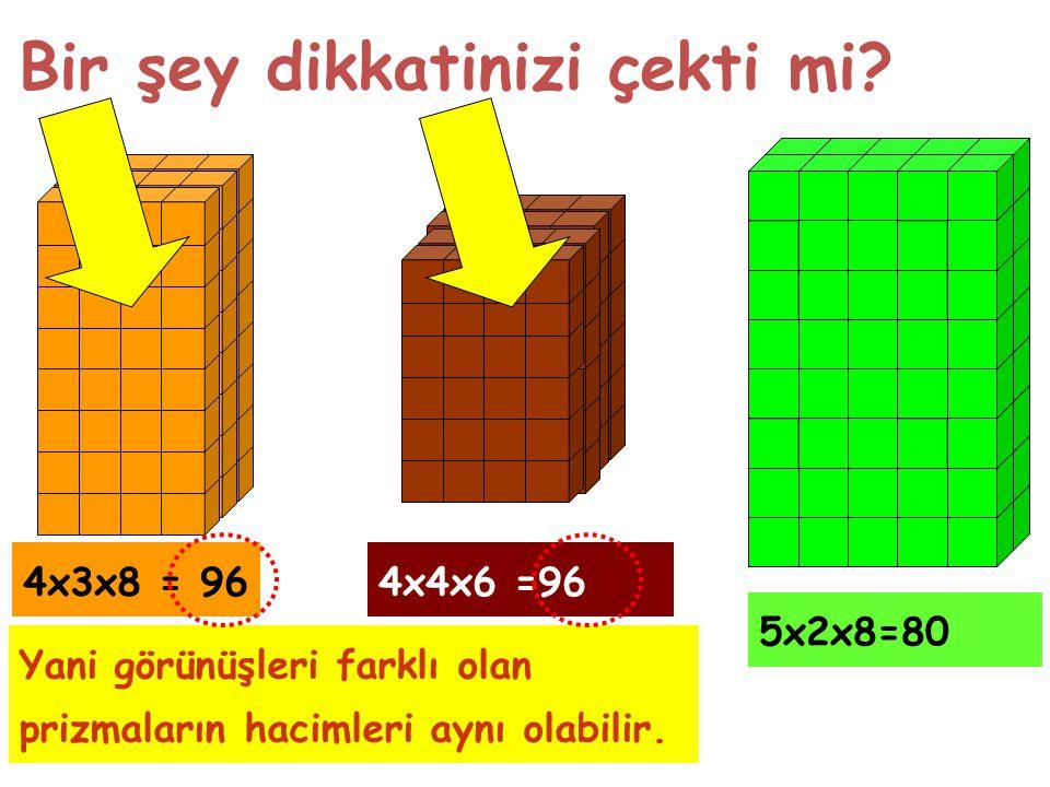 Bir şey dikkatinizi çekti mi? 4x3x8 = 964x4x6 =96 5x2x8=80 Yani görünüşleri farklı olan prizmaların hacimleri aynı olabilir.