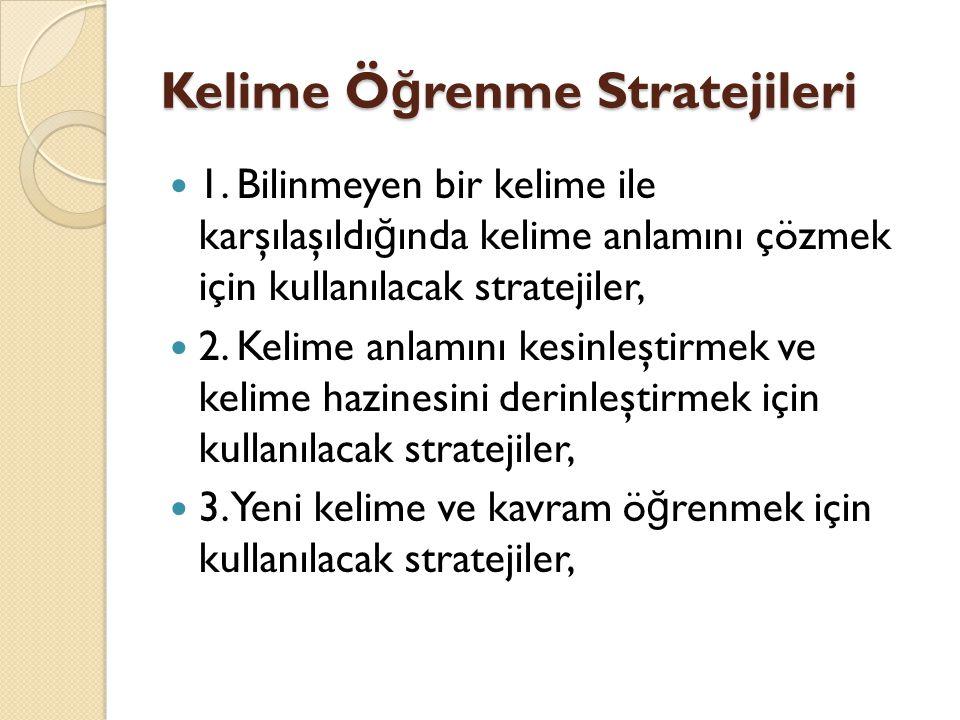 Kelime Ö ğ renme Stratejileri 1. Bilinmeyen bir kelime ile karşılaşıldı ğ ında kelime anlamını çözmek için kullanılacak stratejiler, 2. Kelime anlamın