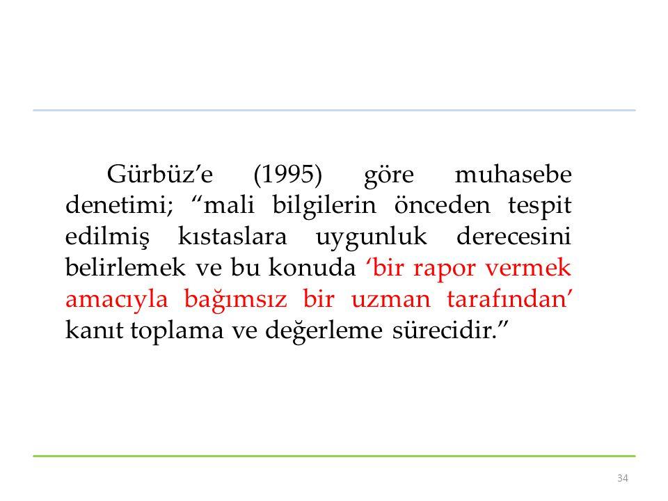 Gürbüz'e (1995) göre muhasebe denetimi; mali bilgilerin önceden tespit edilmiş kıstaslara uygunluk derecesini belirlemek ve bu konuda 'bir rapor vermek amacıyla bağımsız bir uzman tarafından' kanıt toplama ve değerleme sürecidir. 34