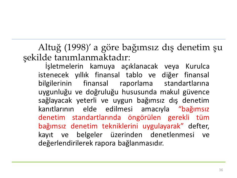Altuğ (1998)' a göre bağımsız dış denetim şu şekilde tanımlanmaktadır: İşletmelerin kamuya açıklanacak veya Kurulca istenecek yıllık finansal tablo ve diğer finansal bilgilerinin finansal raporlama standartlarına uygunluğu ve doğruluğu hususunda makul güvence sağlayacak yeterli ve uygun bağımsız dış denetim kanıtlarının elde edilmesi amacıyla bağımsız denetim standartlarında öngörülen gerekli tüm bağımsız denetim tekniklerini uygulayarak defter, kayıt ve belgeler üzerinden denetlenmesi ve değerlendirilerek rapora bağlanmasıdır.