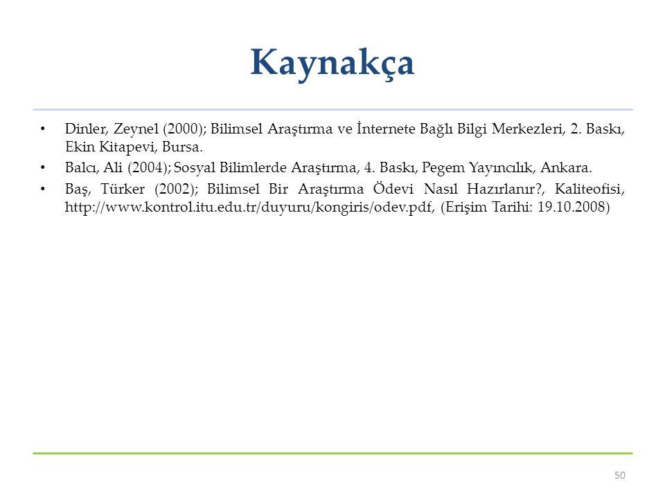 Kaynakça Dinler, Zeynel (2000); Bilimsel Araştırma ve İnternete Bağlı Bilgi Merkezleri, 2.
