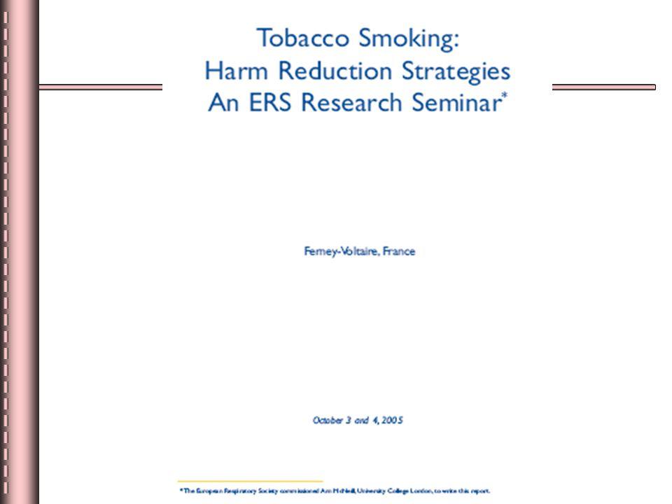 Başlıca zarar azaltma stratejileri Tüketilen sigara miktarının azaltılması Dumansız-tütün Modifiye tütün ürünleri (PREPS) Nikotinin yoksunluğun önlenmesi amacıyla direk kullanımı