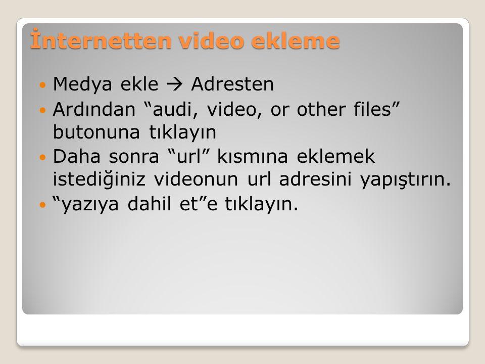 """İnternetten video ekleme Medya ekle  Adresten Ardından """"audi, video, or other files"""" butonuna tıklayın Daha sonra """"url"""" kısmına eklemek istediğiniz v"""