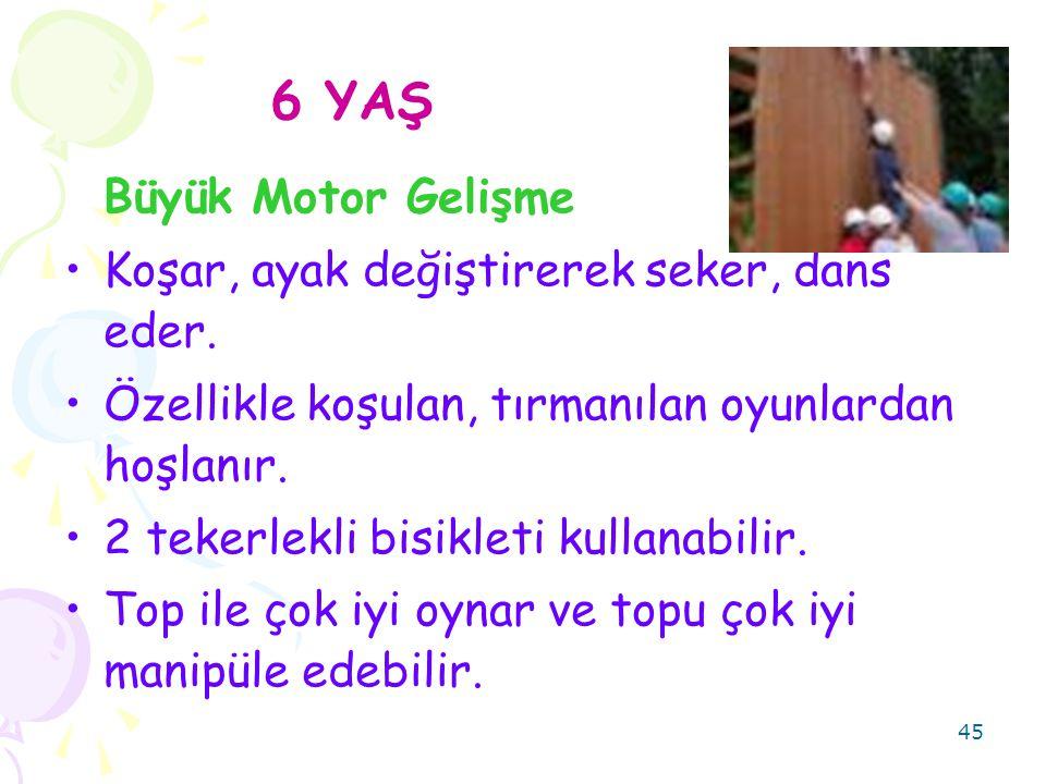 45 6 YAŞ Büyük Motor Gelişme Koşar, ayak değiştirerek seker, dans eder.